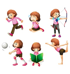 Different activities of a little lady vector image