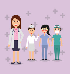 doctors female staff hospital professional people vector image