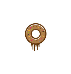 donut with chocolate and sprinkles on the top logo vector image