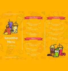 doodle smoothie cafe or restaurant menu vector image
