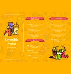 Doodle smoothie cafe or restaurant menu vector