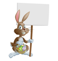 easter bunny rabbit holding sign vector image
