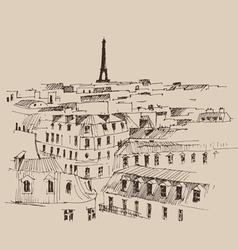 Eiffel Tower Paris France architecture vintage e vector