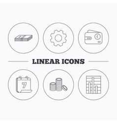 Euro wallet cash money and chart icons vector