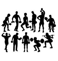 Fitness gym activity silhouettes vector