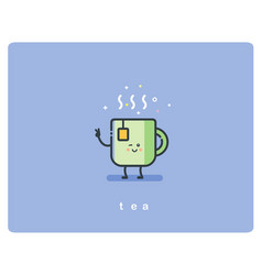 Flat icon friendly cup of tea character vector
