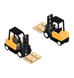 Forklifts reliable heavy loader trucks vector