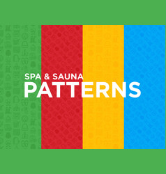 Four different spa and sauna seamless patterns vector