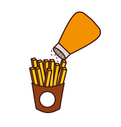 french fries and salt fast food tasty fresh vector image