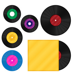 gramophone vinyl lp record template set vector image