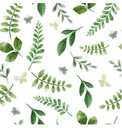 green herbs cute green floral seamless pattern vector image