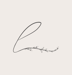 Hand drawn floral l monogram and logo vector