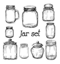 Hand drawn jar set vector