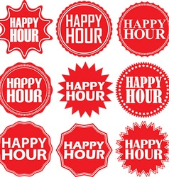 Happy hour red label Happy hour red sign Happy vector image