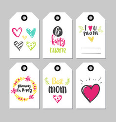 happy mothers day set of holiday cards tag shape vector image