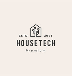 house home technology hipster vintage logo icon vector image