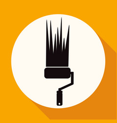 icon paint roller on white circle with a long vector image
