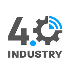 Industry 40 iot smart factory concept logo vector