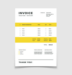 invoice template quotation table paper prder for vector image