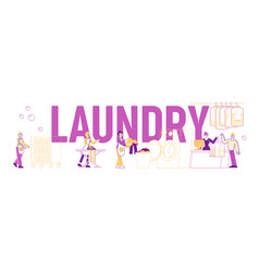 laundry concept poster male and female characters vector image