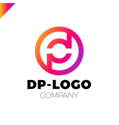 letter d and p logo pd dp initial vector image