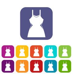 Little dress icons set vector