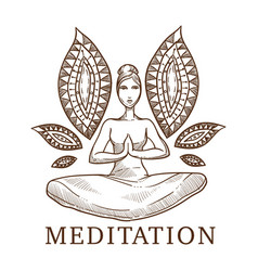 meditation titled sketch of a woman in a lotus vector image