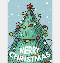 merry christmas banner green trees with garlands vector image