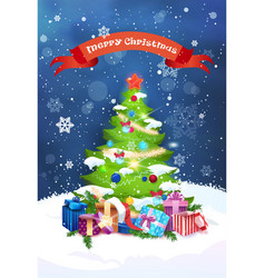 merry christmas greeting card decorated pine tree vector image