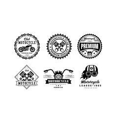 Motorcycle club logo set retro badges for biker vector