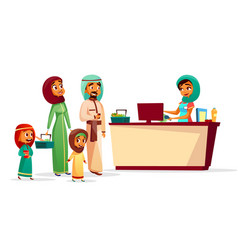 Muslim family at supermarket checkout counter vector