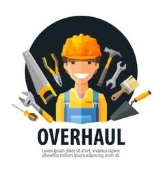 Overhaul logo design template worker and vector