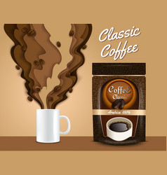 paper cut 3d coffee poster banner template vector image