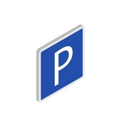 Parking sign icon isometric 3d style vector