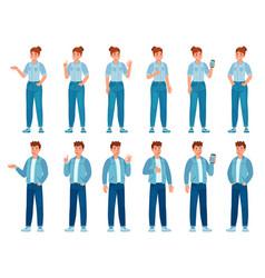 people in jeans gesture happy standing woman vector image
