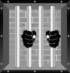 Prison window with hands on the bars vector