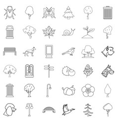 Public square icons set outline style vector