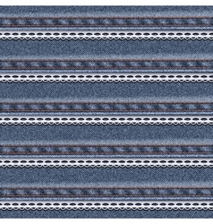 Realistic denim seamless texture with white lace vector