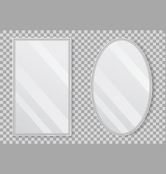realistic empty mirrors with reflect in mockup vector image