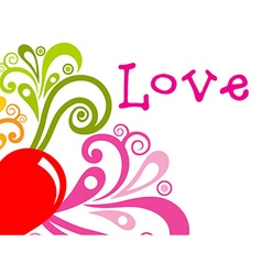 red heart with colorful floral vector image