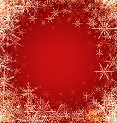 Red winter background with snowflakes vector