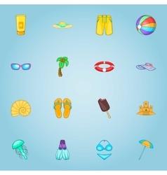 Rest on sea icons set cartoon style vector