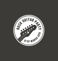 rock guitar party label badge emblem logo vector image