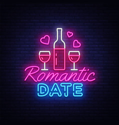 romantic date neon sign design template vector image