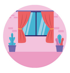 room window curtains plants in pots vector image