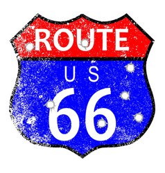 Route 66 bullet holes vector