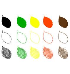 rowan leaf color set vector image