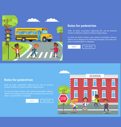 Rules for pedestrian web banner with texts vector