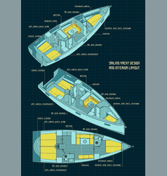 sailing yacht design and interior layout color vector image