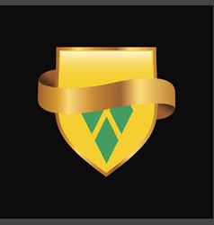 Saint vincent and grenadines flag golden badge vector